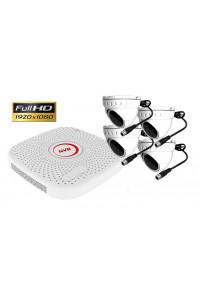 kit videosurveillance IP P2P CPL courant porteur NVR 1080P FULL HD avec 4 domes 2MP