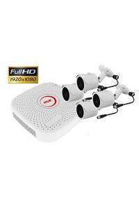 Kit videosurveillance CPL courant porteur NVR avec 4 cameras tubes ip p2p 2MP 1080P full hd 1TO