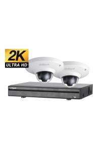 Kit videosurveillance ULTRA HD 2K avec 2 cameras panoramique HDCVI 1TO