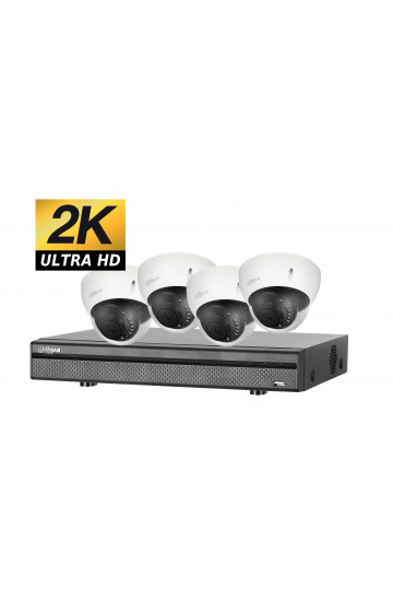 Kit videosurveillance ULTRA HD 2K avec 4 cameras domes etanches 1TO