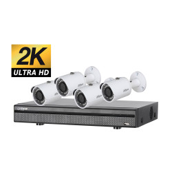 Kit videosurveillance ULTRA HD 2K avec 4 cameras tubes etanches 1TO