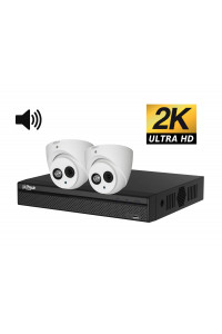 Kit videosurveillance ULTRA HD 2K  2 cameras domes etanches avec son 1TO