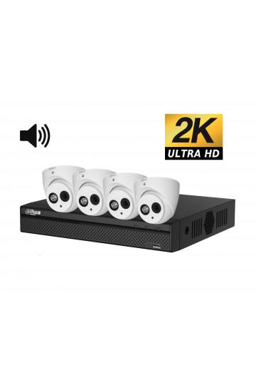 Kit videosurveillance ULTRA HD 2K  4 cameras domes etanches avec son 1TO