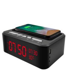 horloge reveil enceinte bluetooth chargeur telephone camera espion wifi ip p2p 1080P vision nocturne 64GO