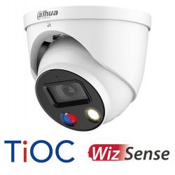 Caméra dome ip 5MP Dahua wizsense avec son, sirène et flash rouge et bleu
